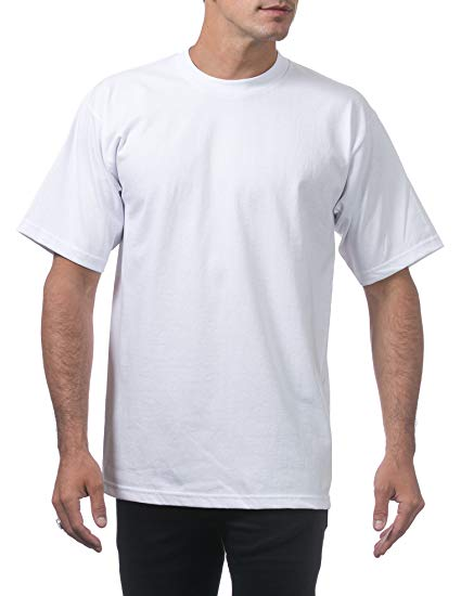 A man wearing the Pro Club Heavyweight Cotton T Shirt