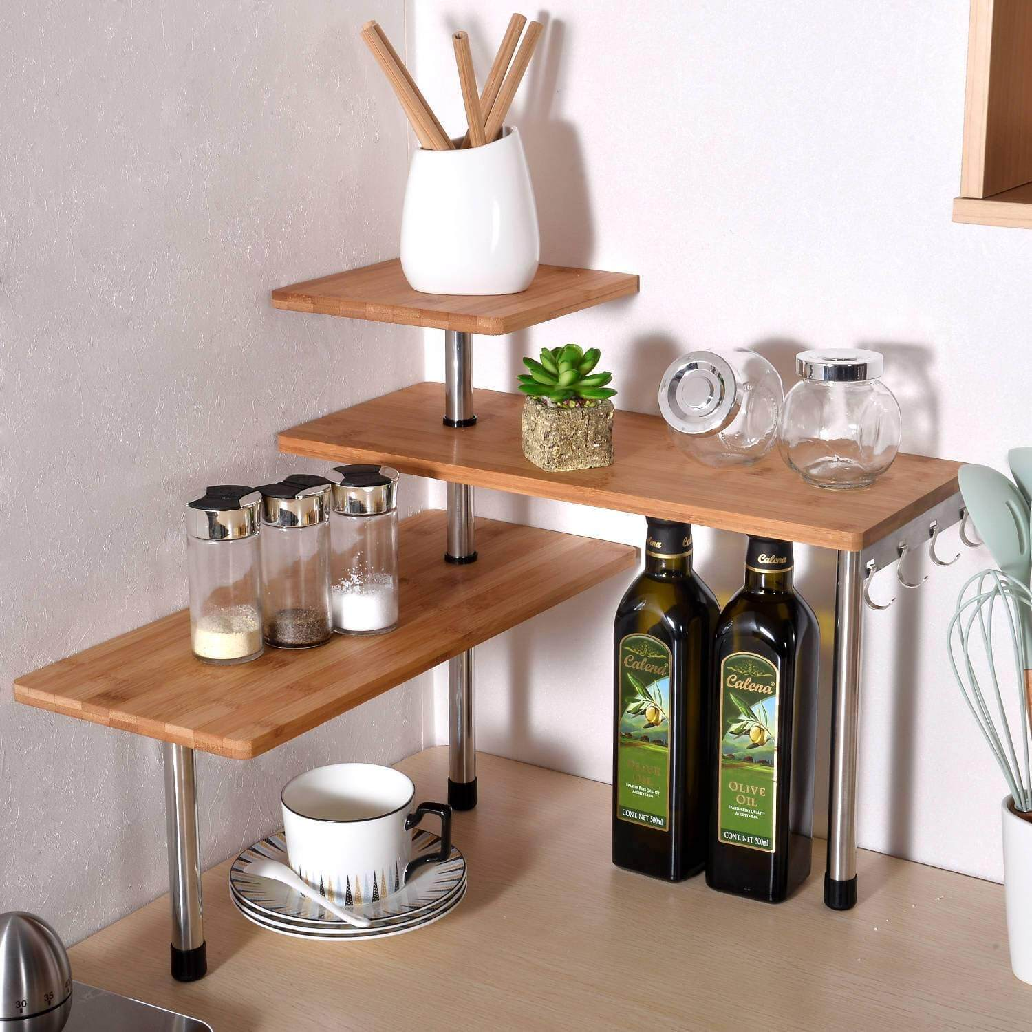 Three-tiered open shelves.