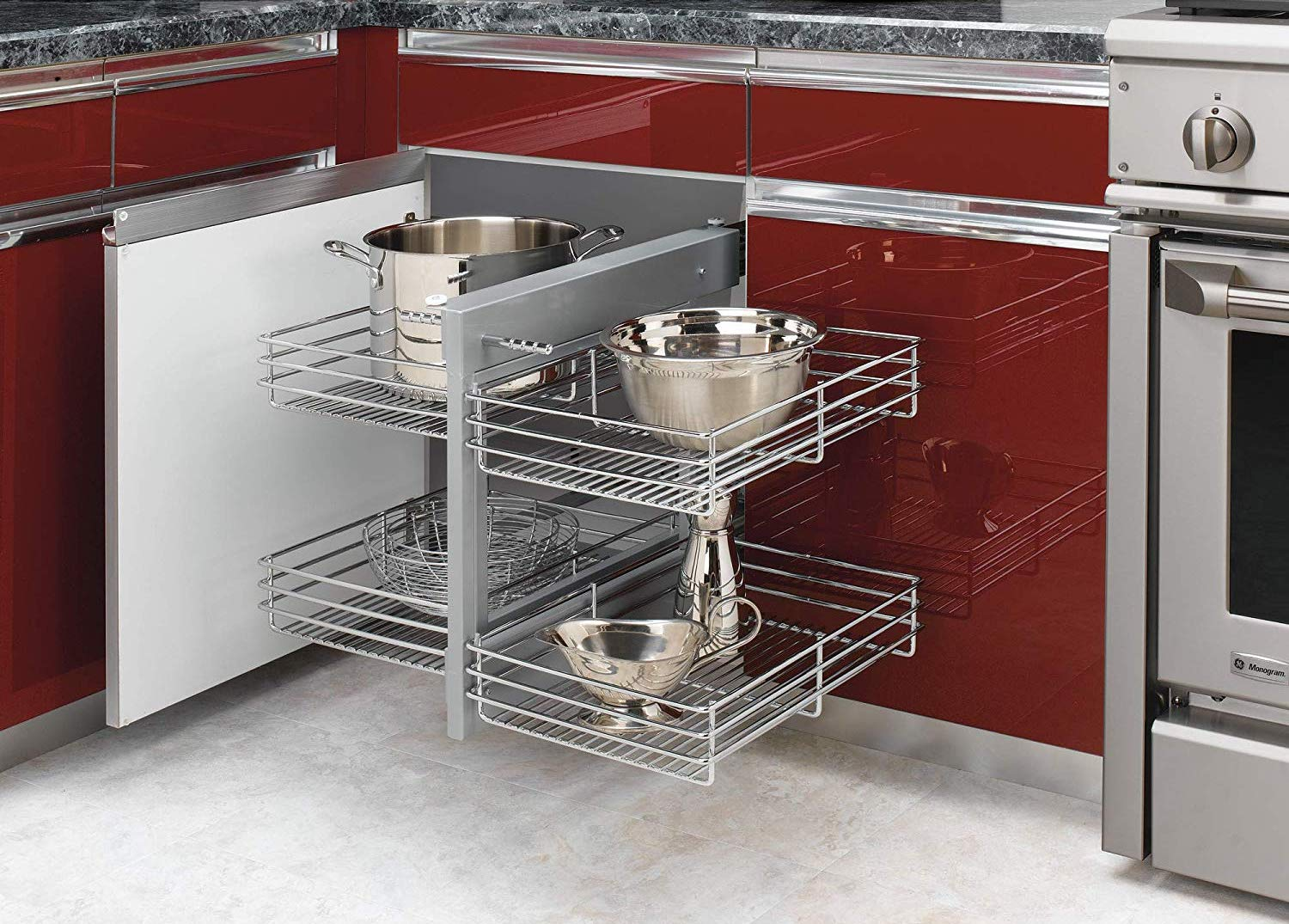 Metal storage cabinets that slide out to optimize corner space.
