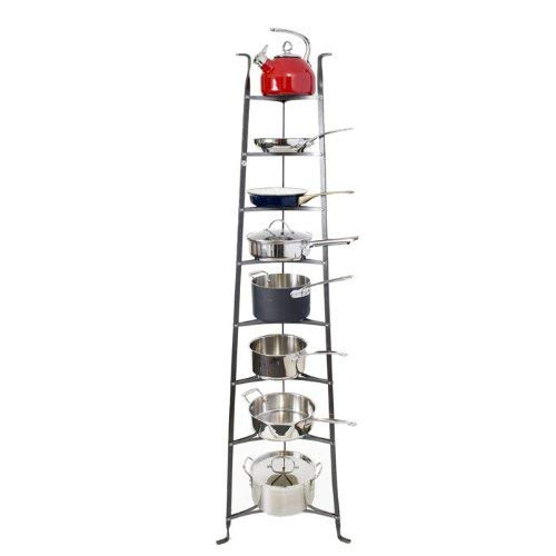 A metal shelving unit designed to carry pots and pans.