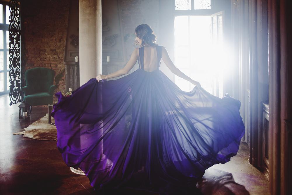 An elegant purple dress.