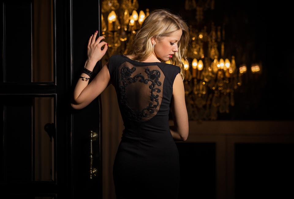 A woman in a little black dress.