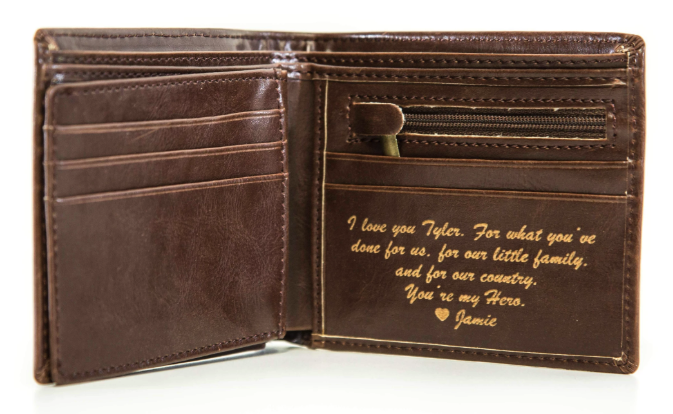 A wallet with a custom message inside.