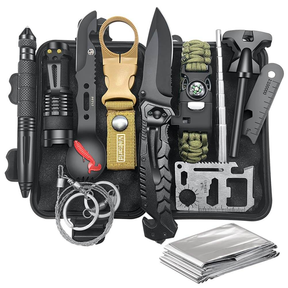 A survival kit with 12 different tools.