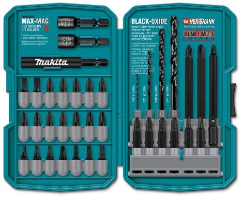 Makita drill bit set in compact case.