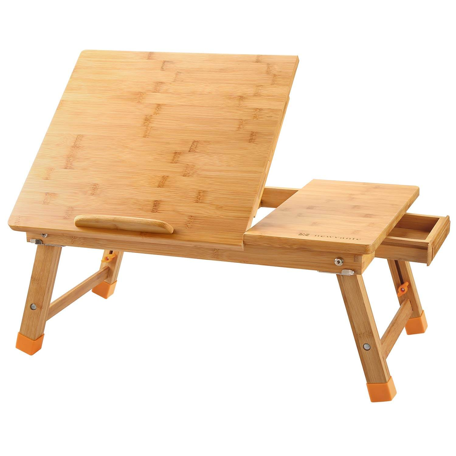 A wooden desk designed to be used while laying in bed.