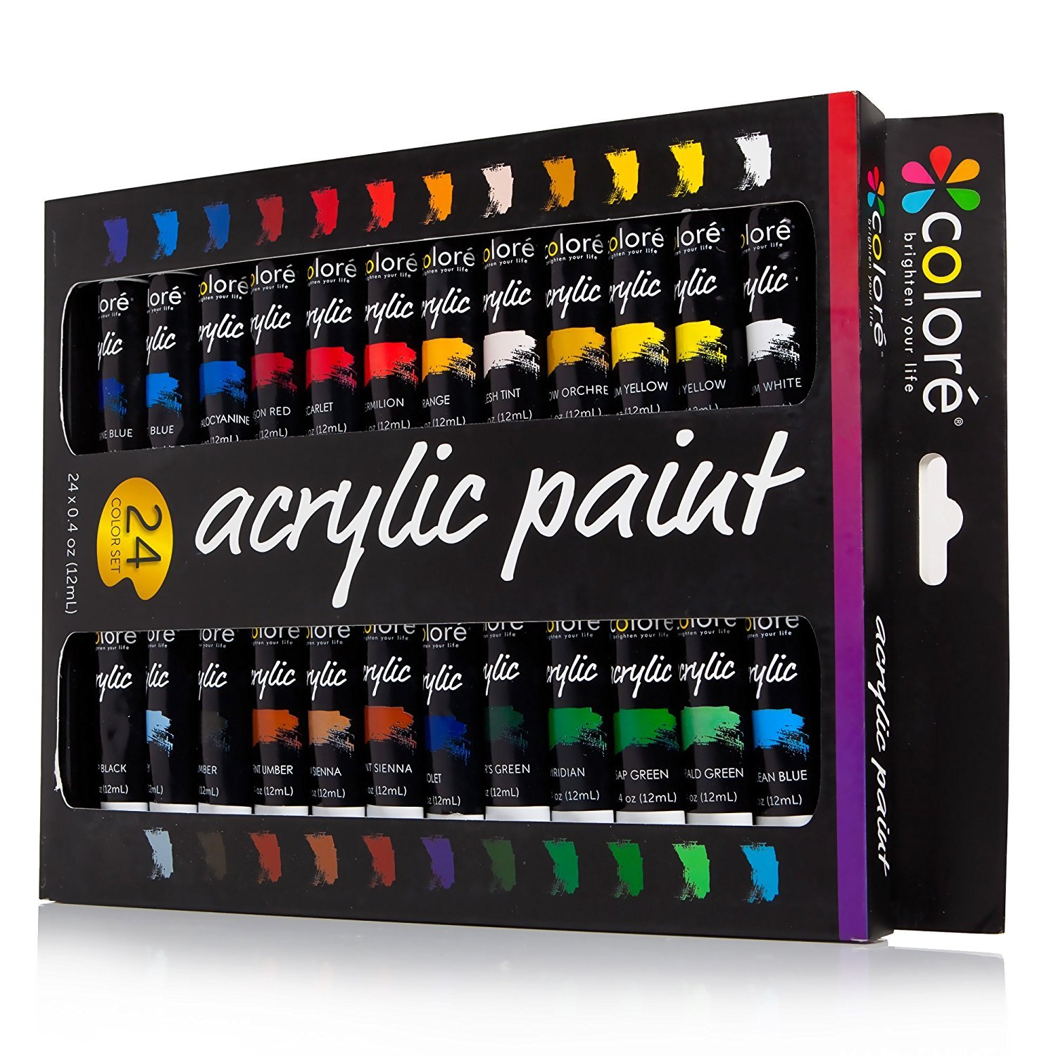 A set of acrylic paints with 24 colors.