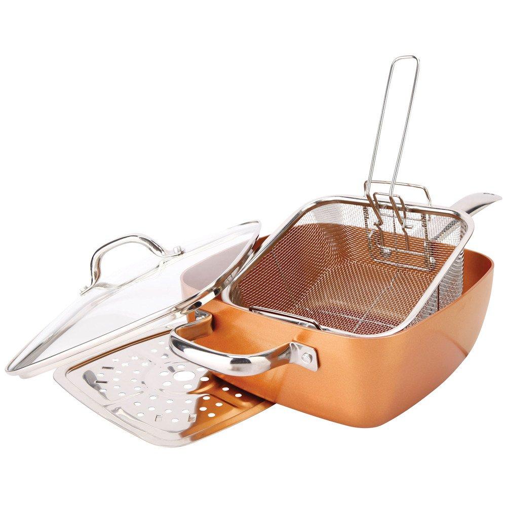 A copper titanium cook set designed for frying.