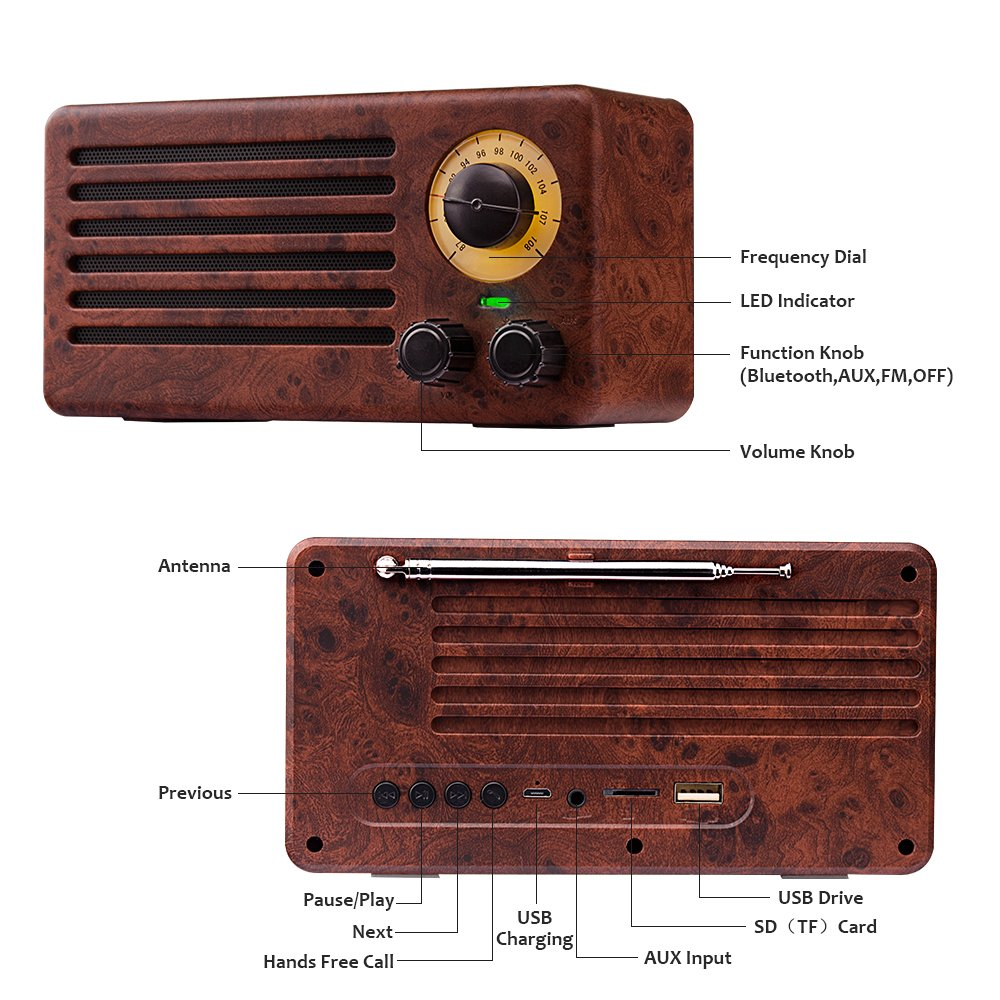 A retro looking bluetooth speaker.