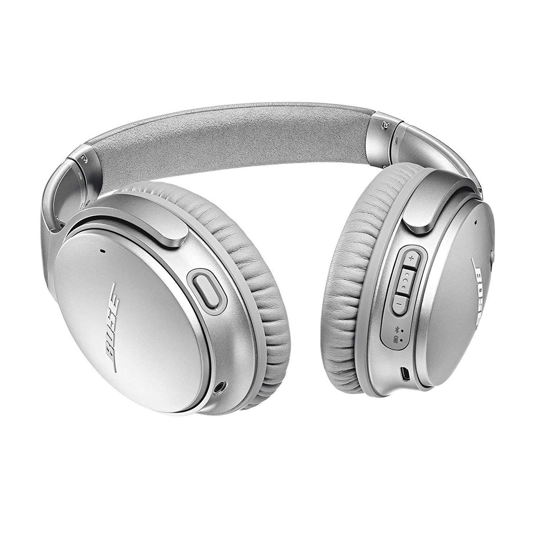 Silver Bose Wireless over-ear headphones.