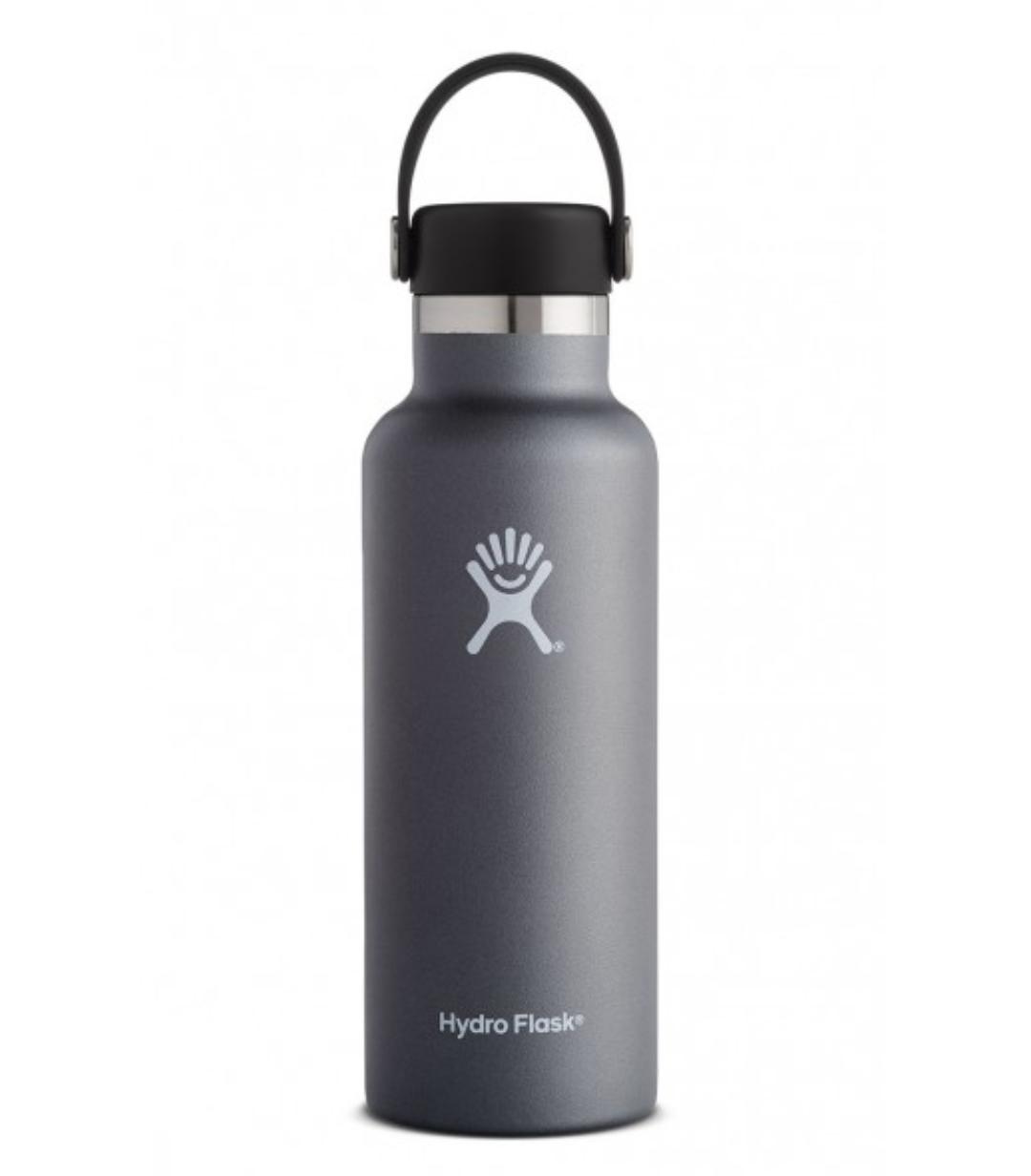 A gray hydro flask water bottle.