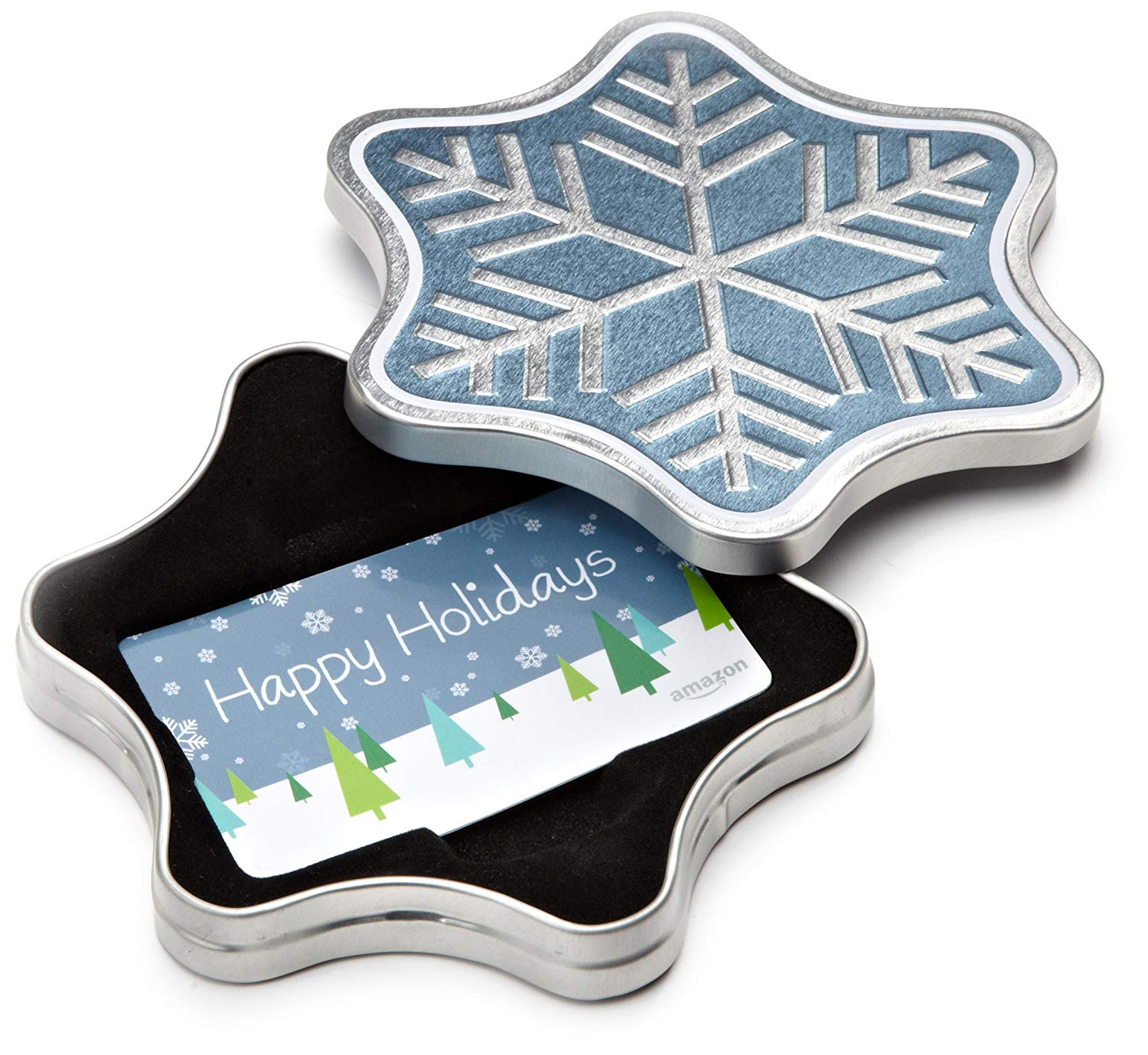 A gift card in a decorative snowflake tin.