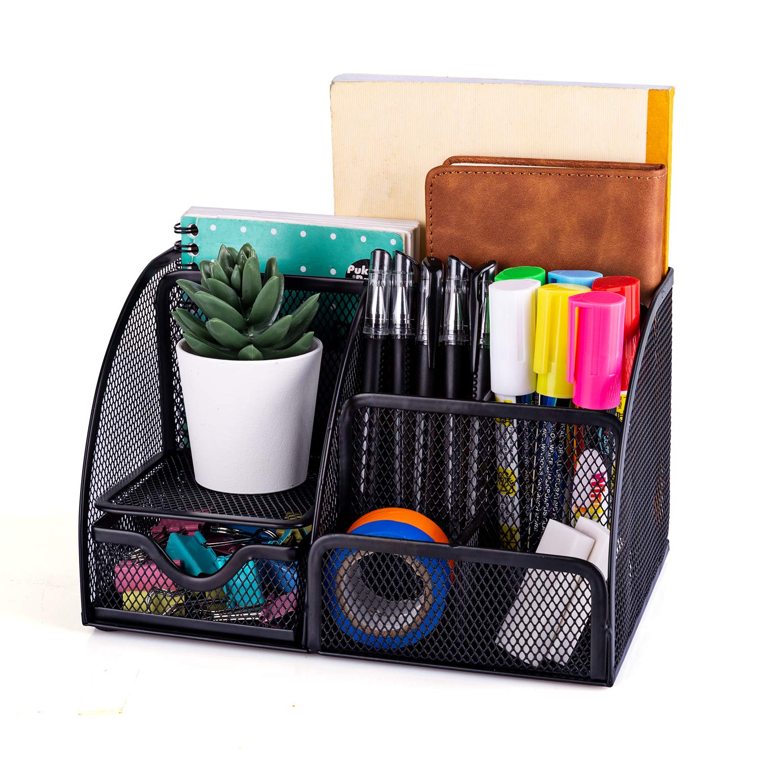 A desk organizer for office equipment.