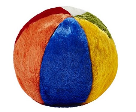 A plush beach ball dog toy.