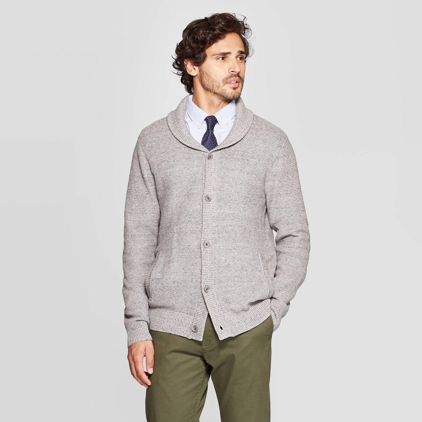 Men's Standard Fit Button-Up Mock Neck Sweater
