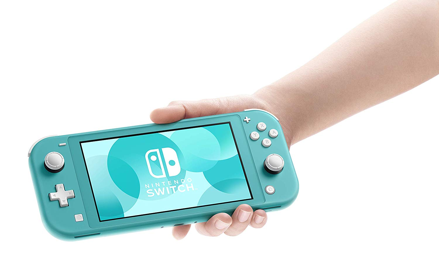 A person holding a turquoise Nintendo Switch Lite.