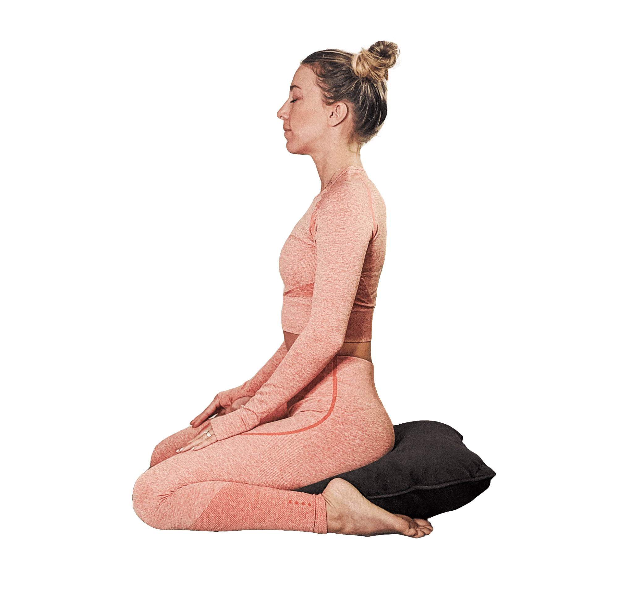 KNEELING ON A PILLOW (HERO'S POSE). Kneel with a pillow under your hips. Your feet may be under the pillow or wider than (outside of) the pillow.