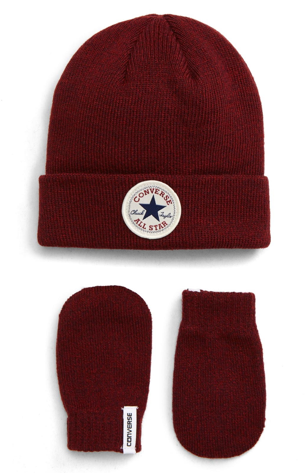 A red hat and mitten set.