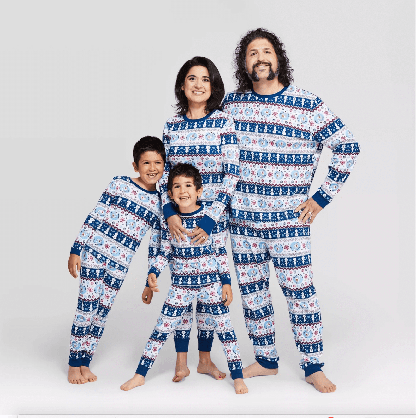 A family in matching pajamas.
