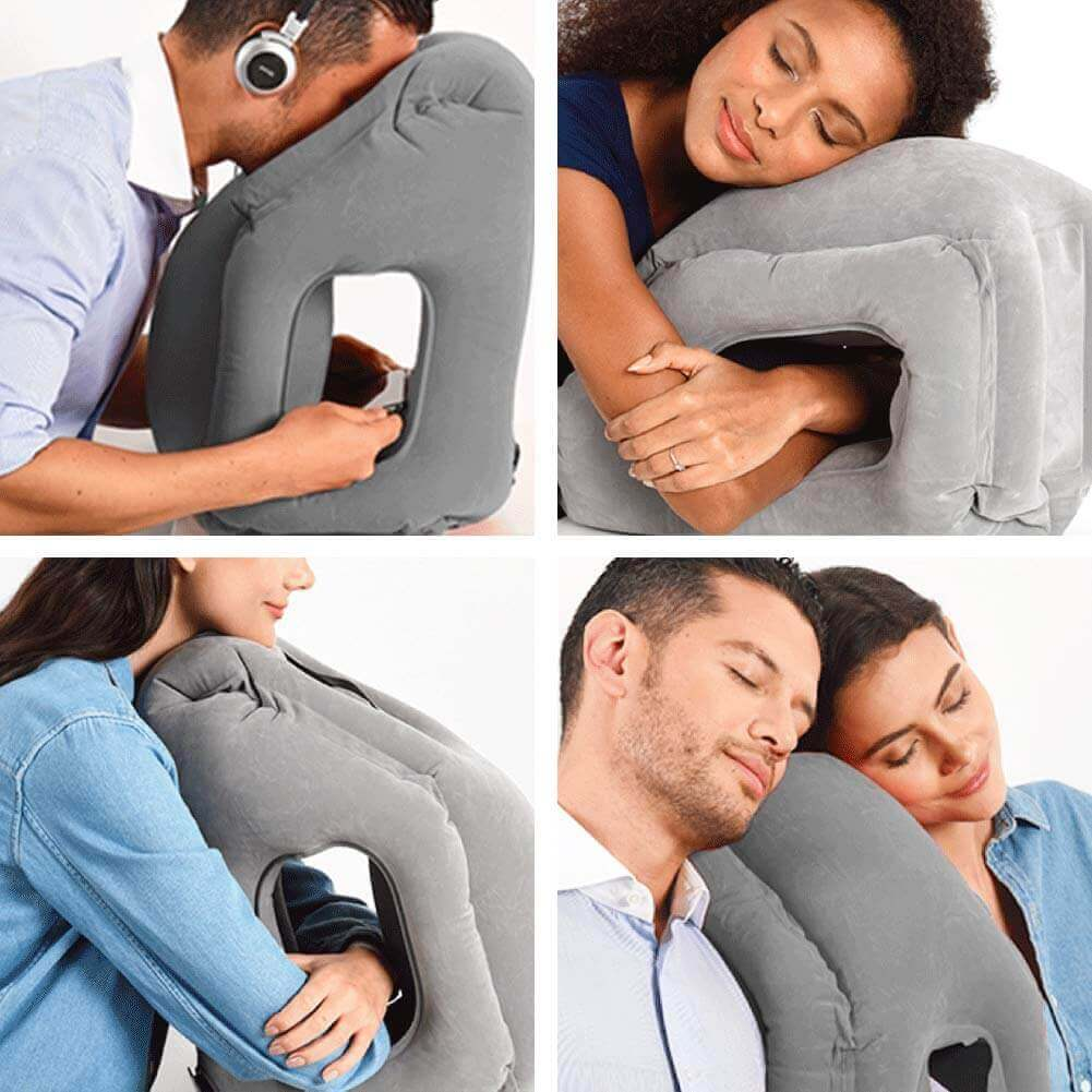 A series of images of a giant inflatable pillow.