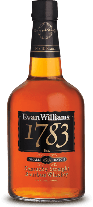 A bottle of Evan Williams 1783 bourbon whiskey.