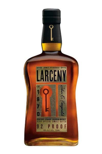 A bottle of Larceny Kentucky Straight bourbon whiskey.