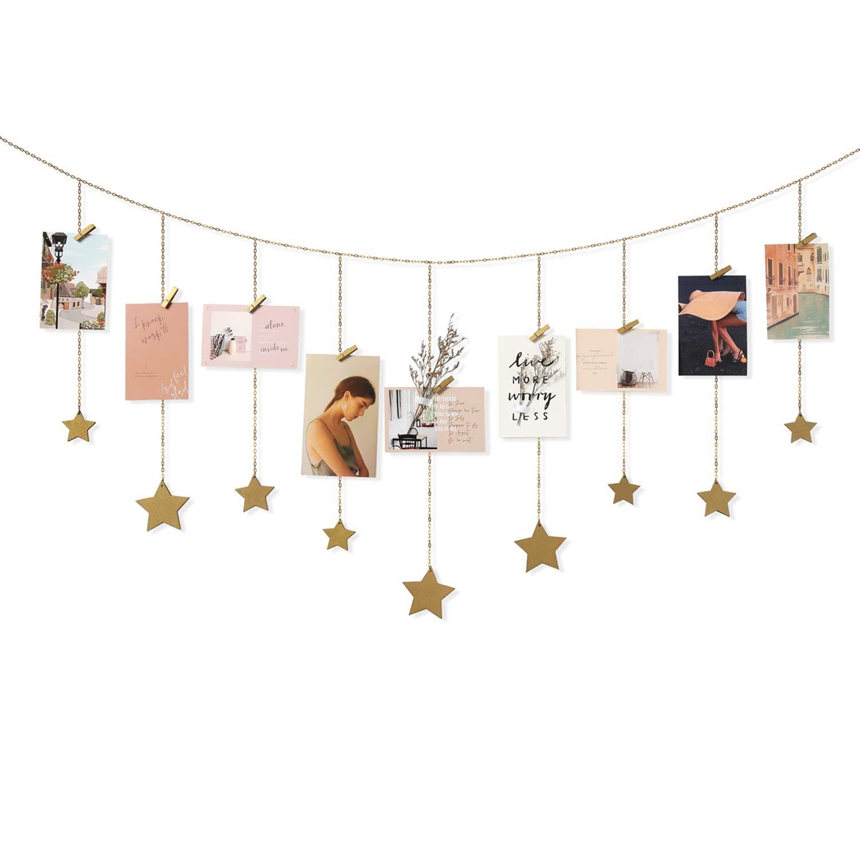Mkono Hanging Photo Display Wood Stars Garland