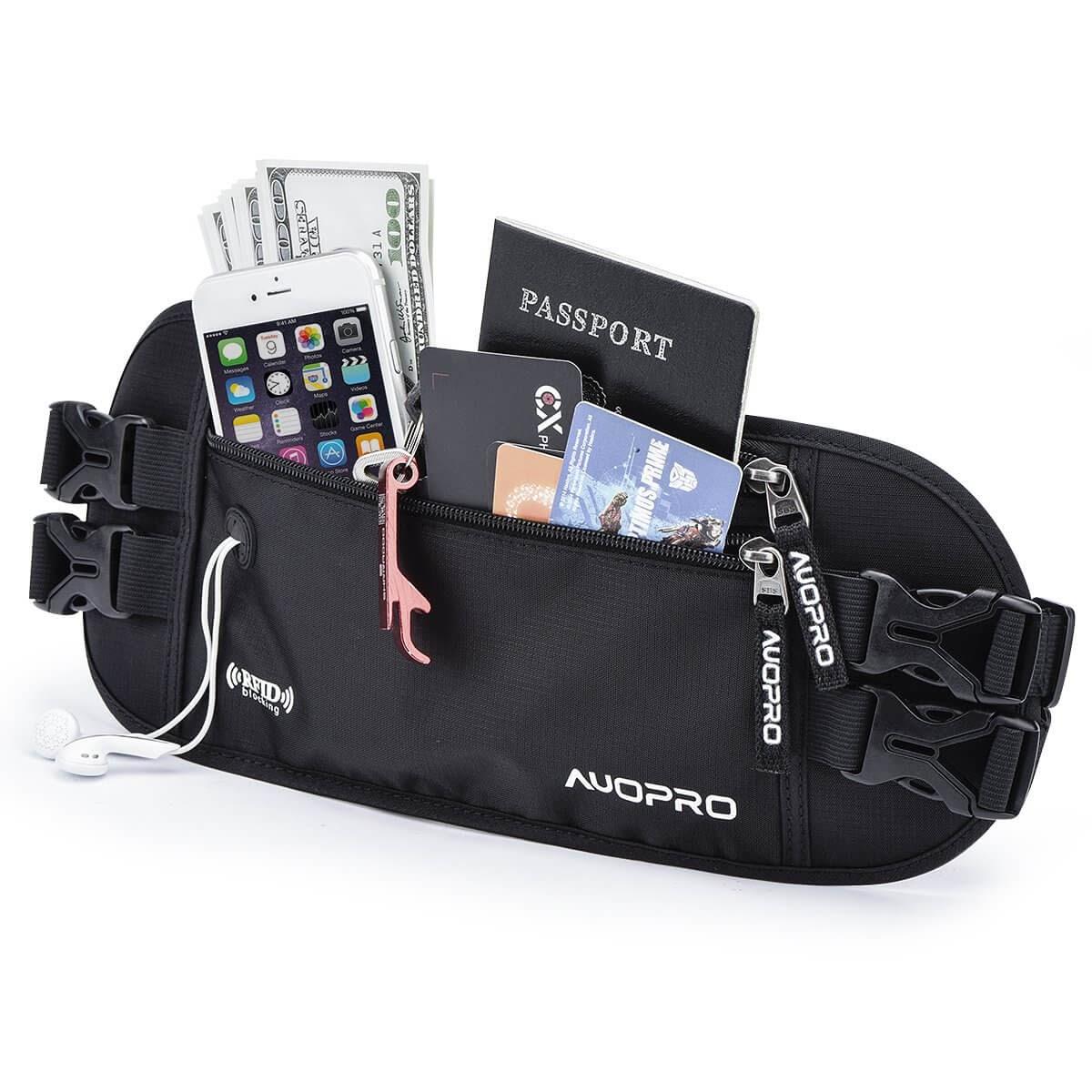 Auopro Hidden Money Belt, RFID Travel Wallet Passport Holder