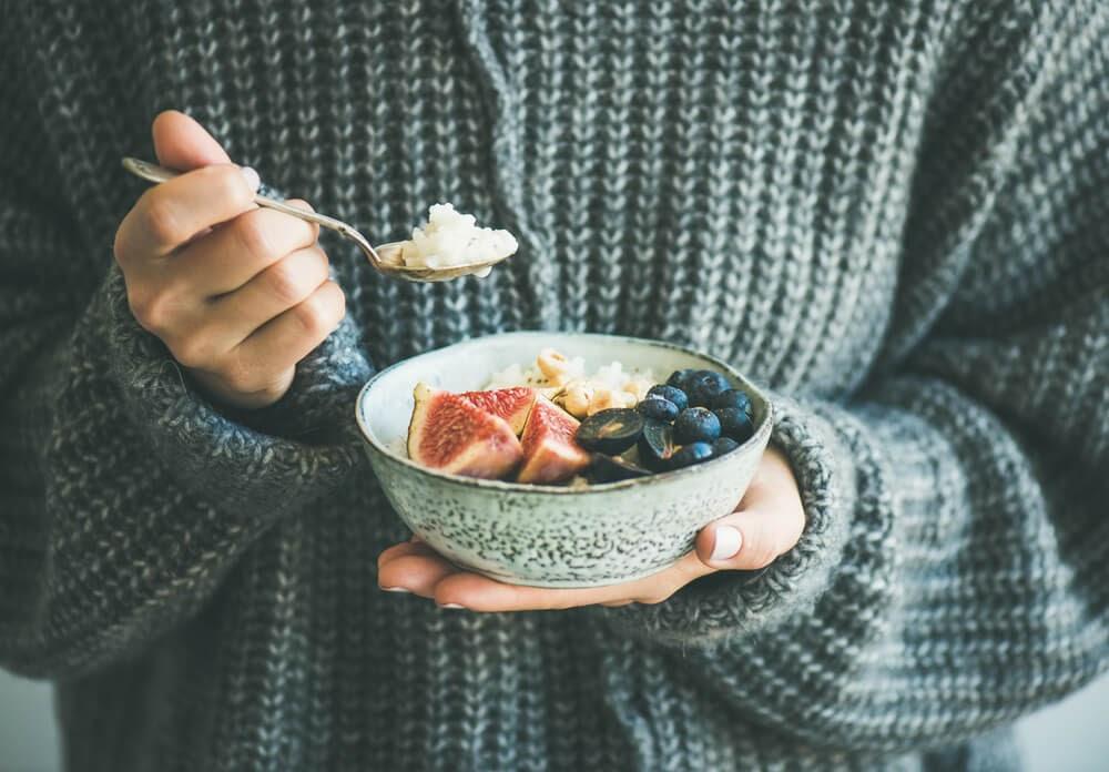 eating acai bowl
