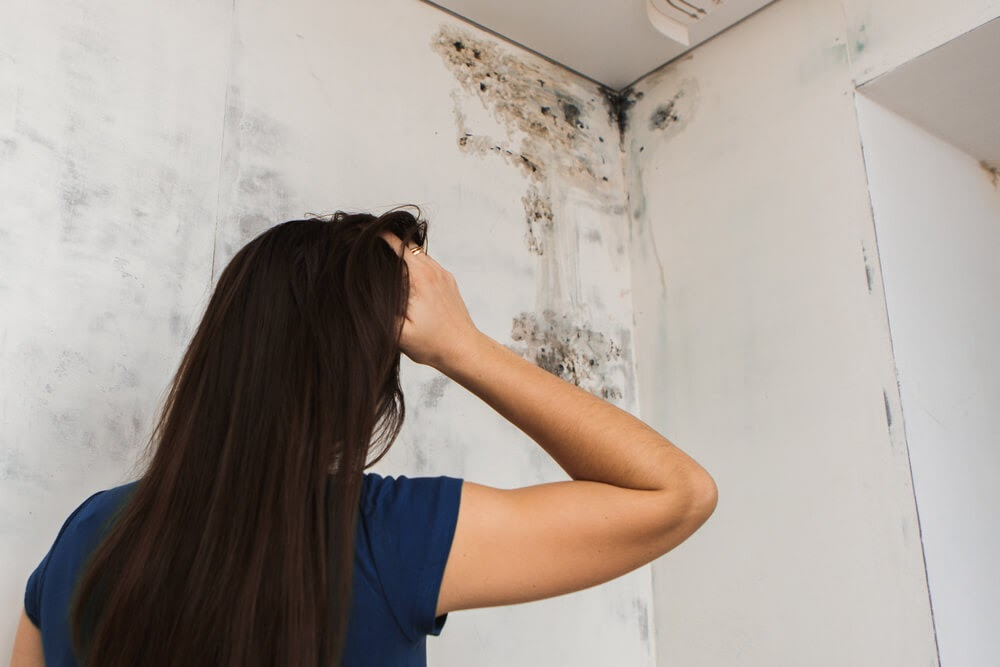 women looking at mold in bathroom