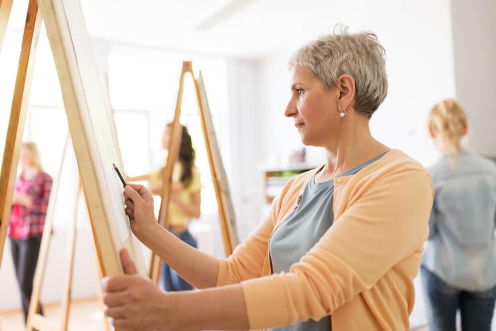 senior women painting