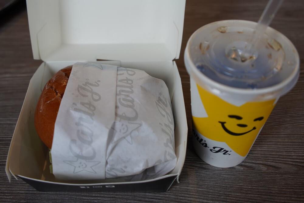 Carl's Jr. Burger and soda