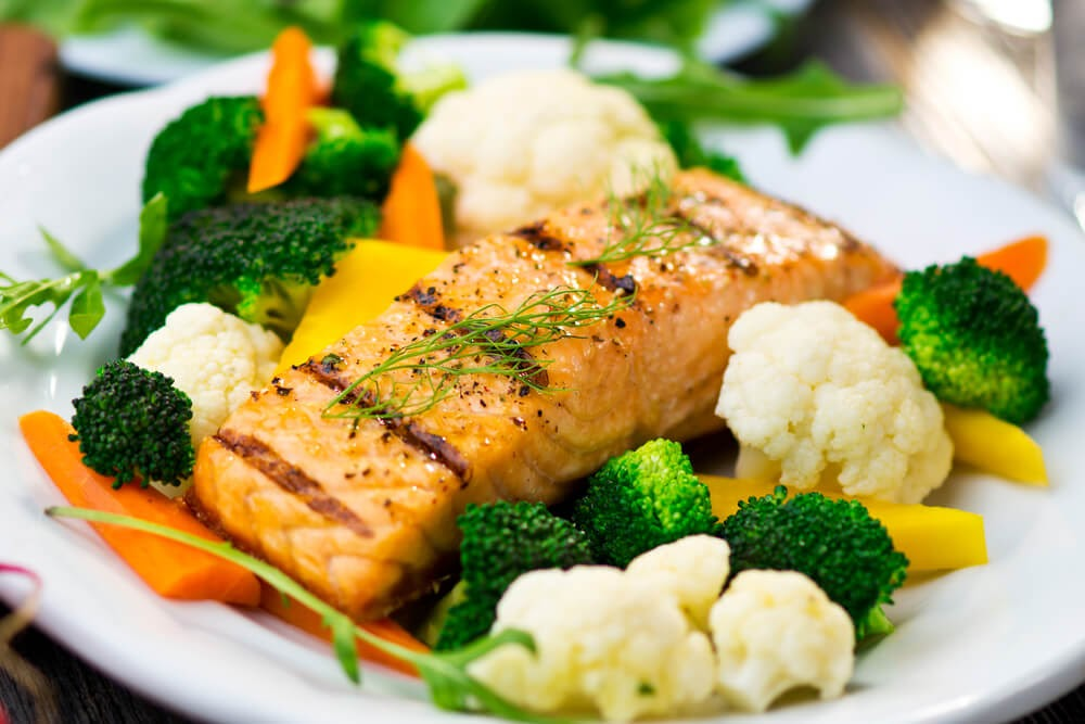 salmon and grilled veggies