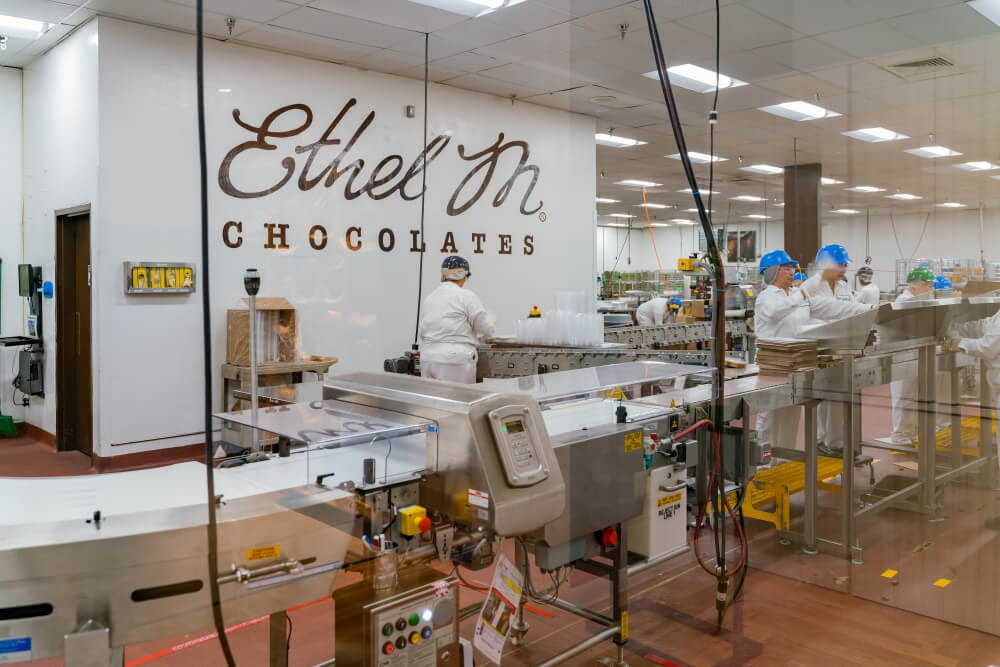 Chocolate makers working in factory