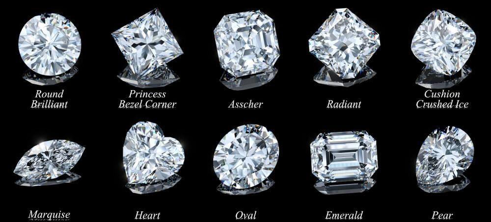 Chart depicting shapes of diamonds