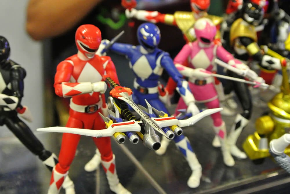 A line-up of Power Ranger action figures