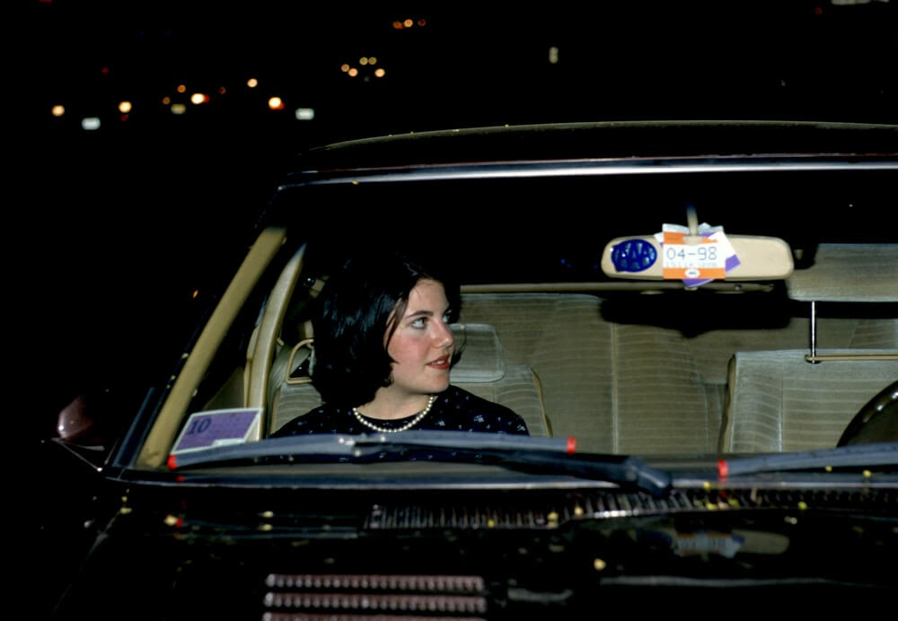 Monica Lewinsky in a black car