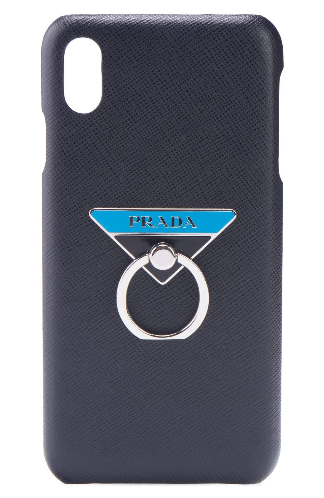 Black leather phone case with silver hardware ring