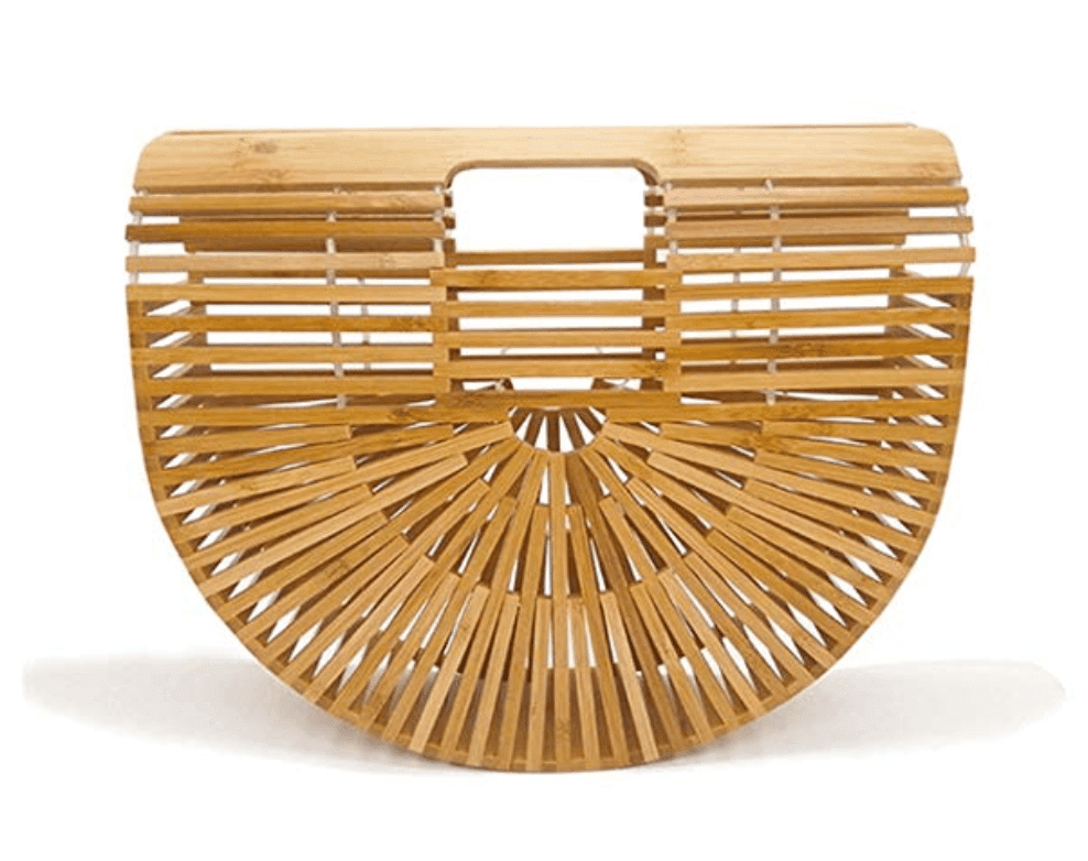 Handbag constructed of wood slats