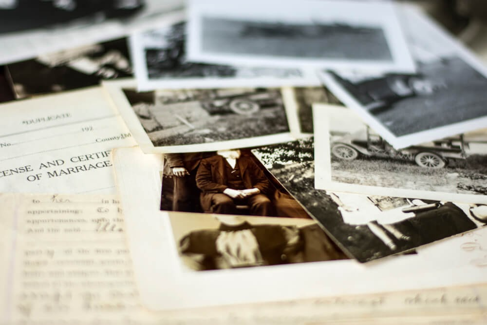 Old photographs and letters in black & white and sepia