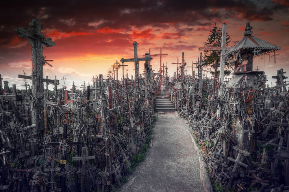 Artist rendition of the Hill of Crosses in Lithuania.