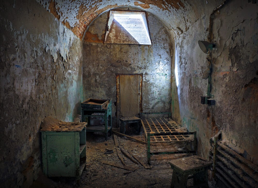 Eastern State Penitentiary in Pennsylvania. Decaying prison cell.