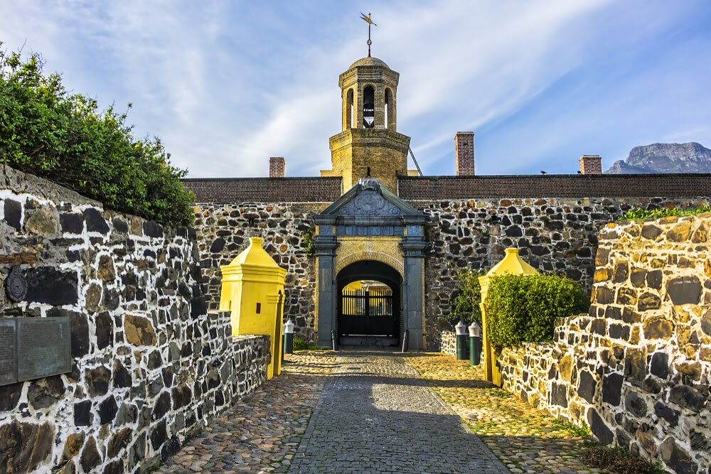 Castle of Good Hope in South Africa. Dark stone building with light mortar