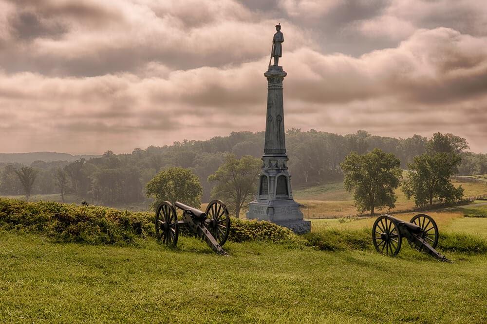 Monument at Gettysburg, Pennsylvania photographed against a dark sky