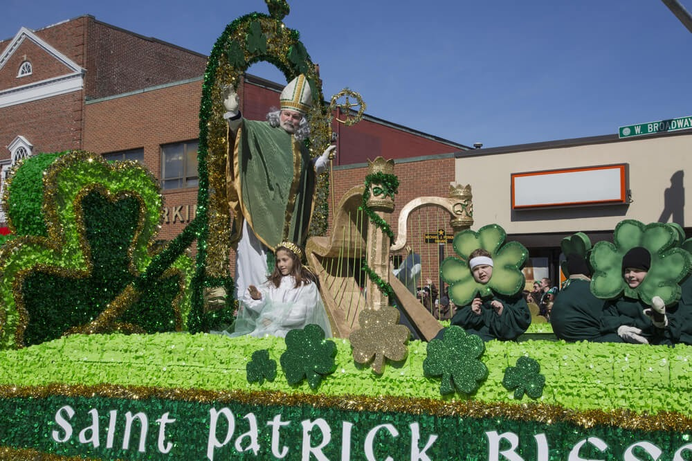 Parade float depicting St. Patrick