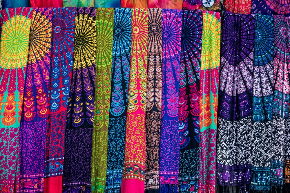 Row of multicolor fabrics with vibrant design