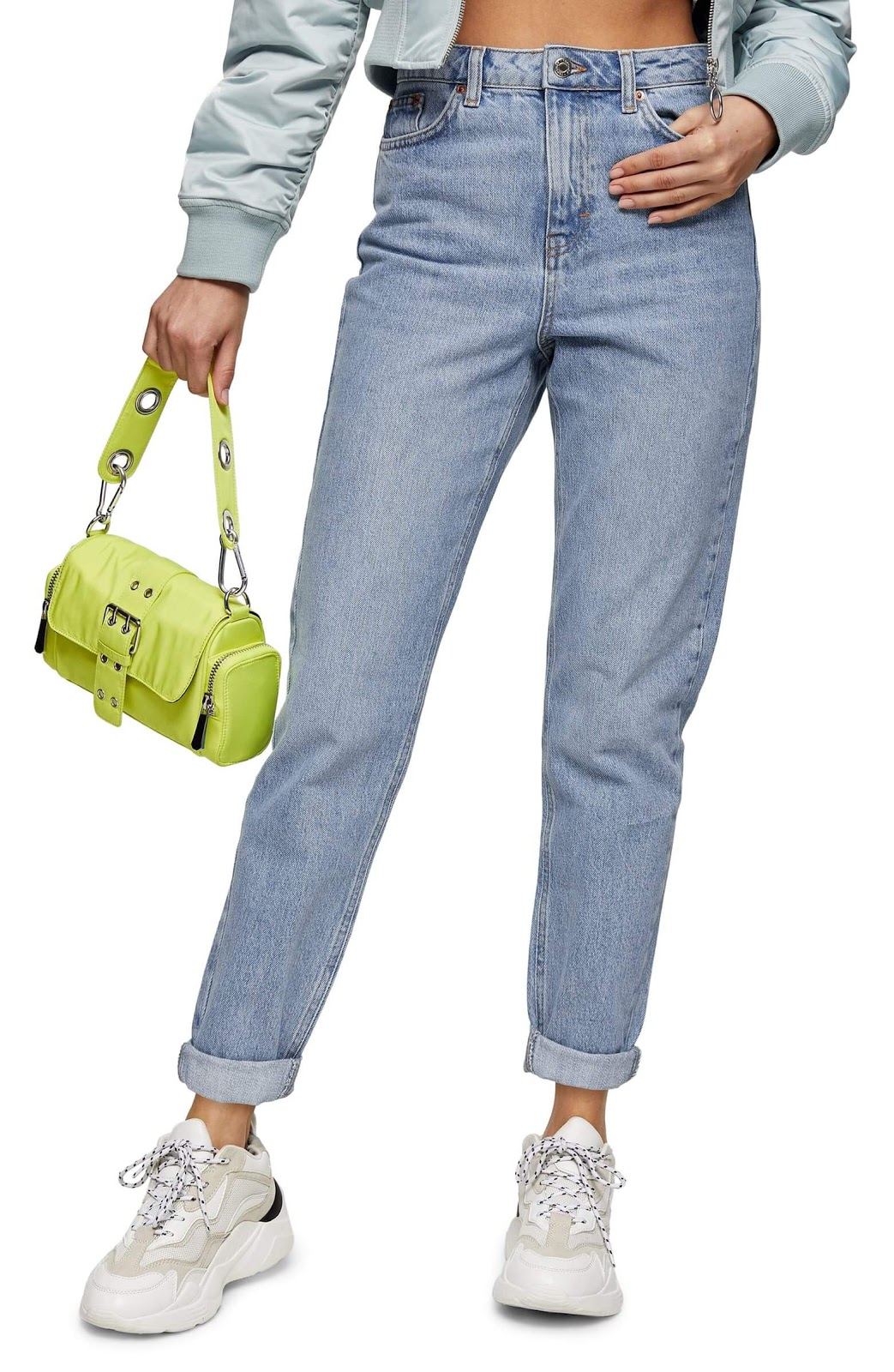 Topshop Bleach Wash Mom Tapered Jeans