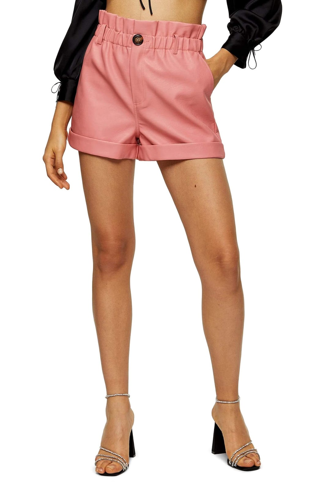 Leather shorts in a pink color.