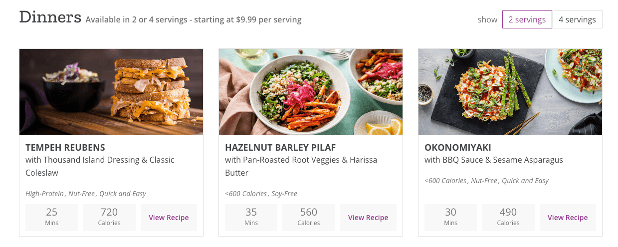 Purple Carrot meal options.