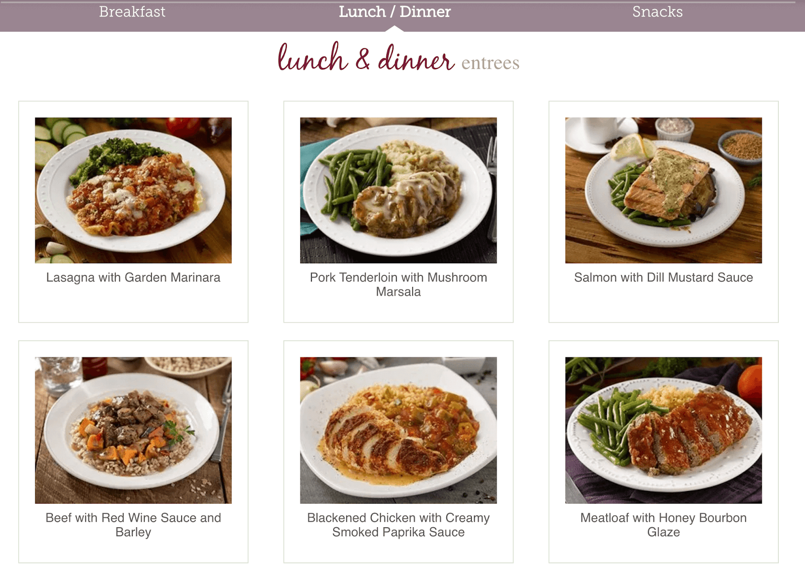 Screen shot of meal options